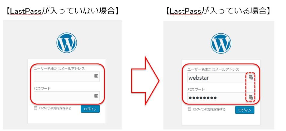 LastPassを使用している場合と使用していない場合