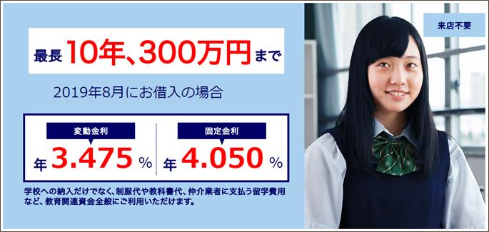 みずほ銀行 教育ローン(留学ローン)